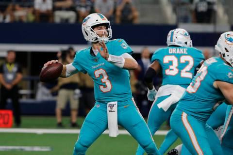 Miami Dolphins quarterback Josh Rosen (3) throws against the Dallas Cowboys during a NFL footba ...