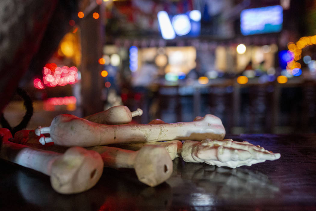 """Halloween decor in the allegedly """"haunted"""" Crown & Anchor Pub in Las Vegas on Friday, Oct. 25, ..."""