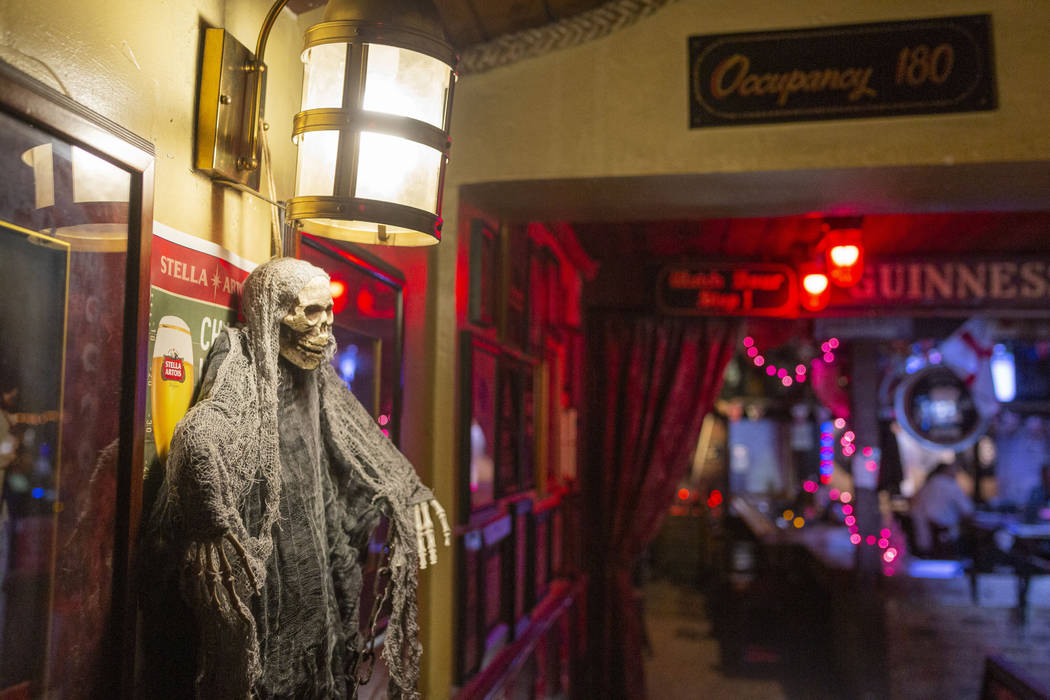 """Halloween decor hangs in the allegedly """"haunted"""" Crown & Anchor Pub in Las Vegas on Friday, Oct ..."""