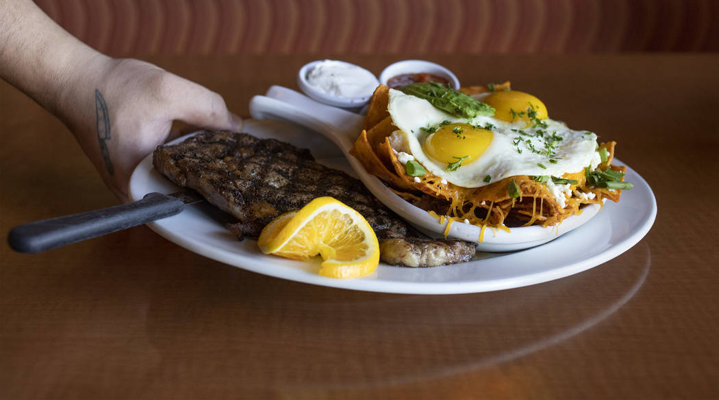The spice ribeye steak chilaquiles boasts a full steak alongside eggs-any-way over chilaquiles ...