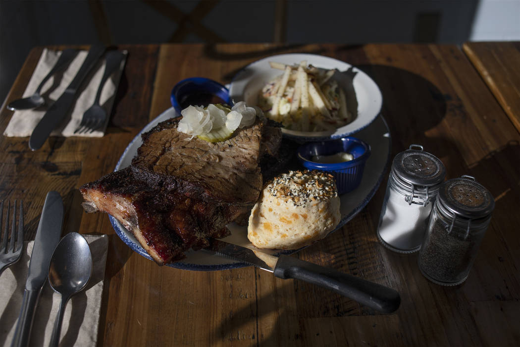 A barbecue plate of housed-smoked ribs and brisket at Mama Bird on Friday, Oct. 25, 2019, at So ...