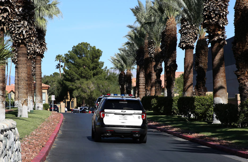 Las Vegas police are investigating a fatal stabbing on Sunday, Oct. 27, 2019, at Indian Hills A ...