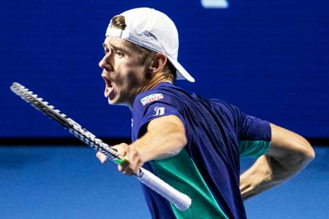 Alex De Minaur of Australia reacts during the semifinal match against Reilly Opelka of the Unit ...