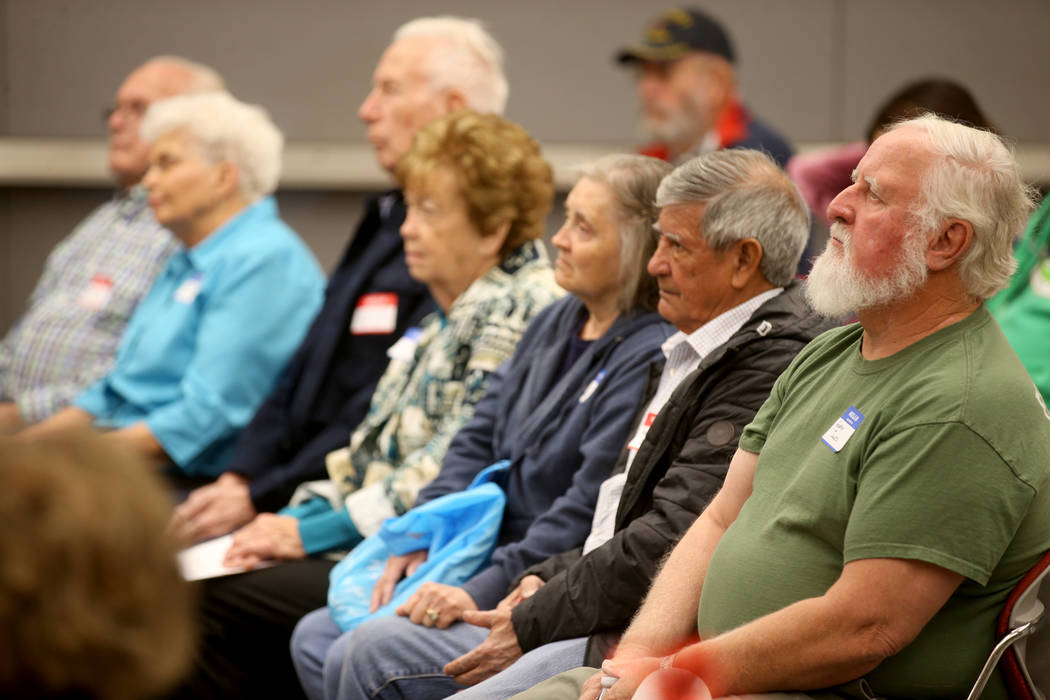 Former Nevada Test Site workers and their spouses, from left, Sidney Baker, Carol Baker, of Bro ...