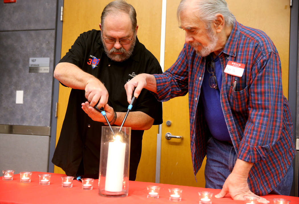 Former Nevada Test Site workers, Charles Stetson, 55, left, and Art Goldberger, both of Las Veg ...