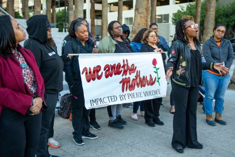 Marcie Wells speaks during the National Day of Outrage rally outside the Regional Justice Cente ...
