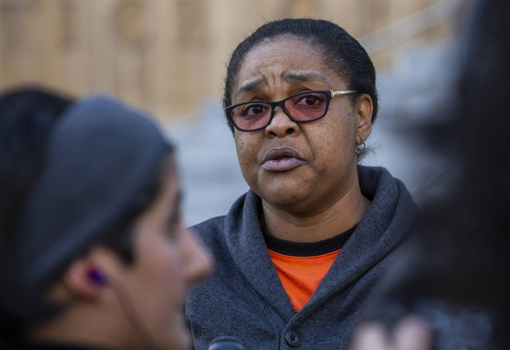 Kelly Williams speaks during a rally to honor Atatiana Jefferson outside the Regional Justice C ...