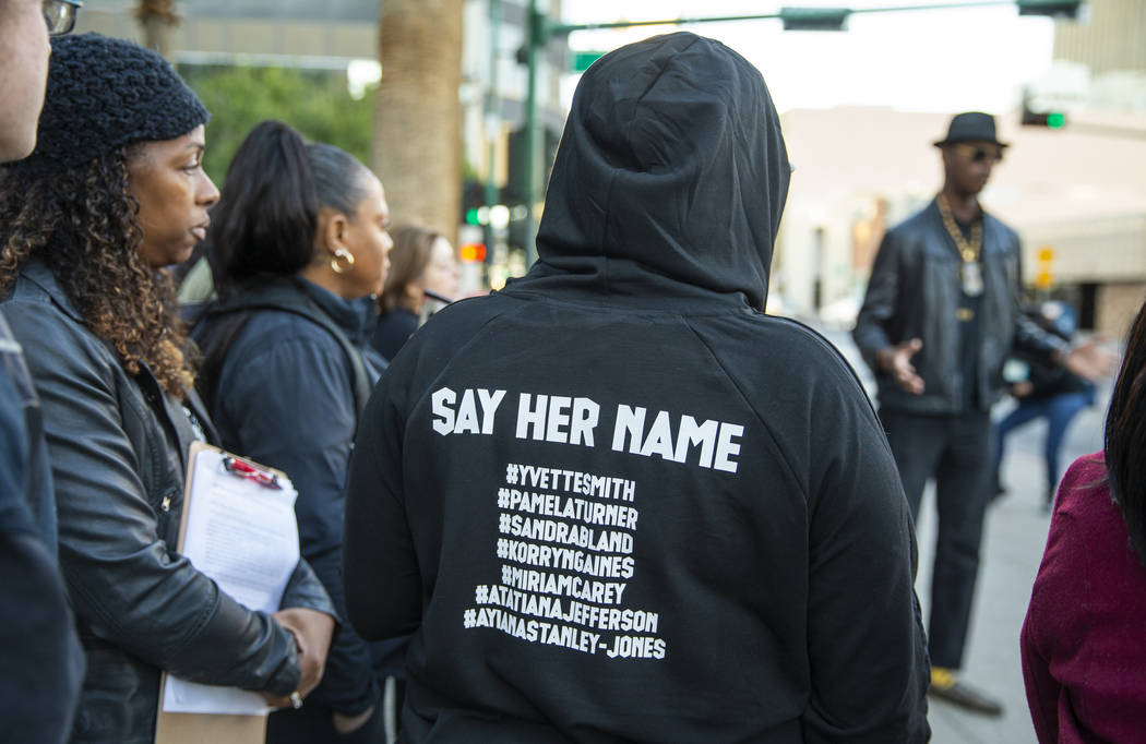 Names are read of women killed by police officers during a rally to honor Atatiana Jefferson ou ...