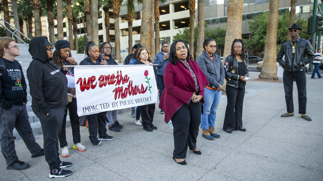 Sheila Collins, left, speaks during a rally to honor Atatiana Jefferson outside the Regional Ju ...
