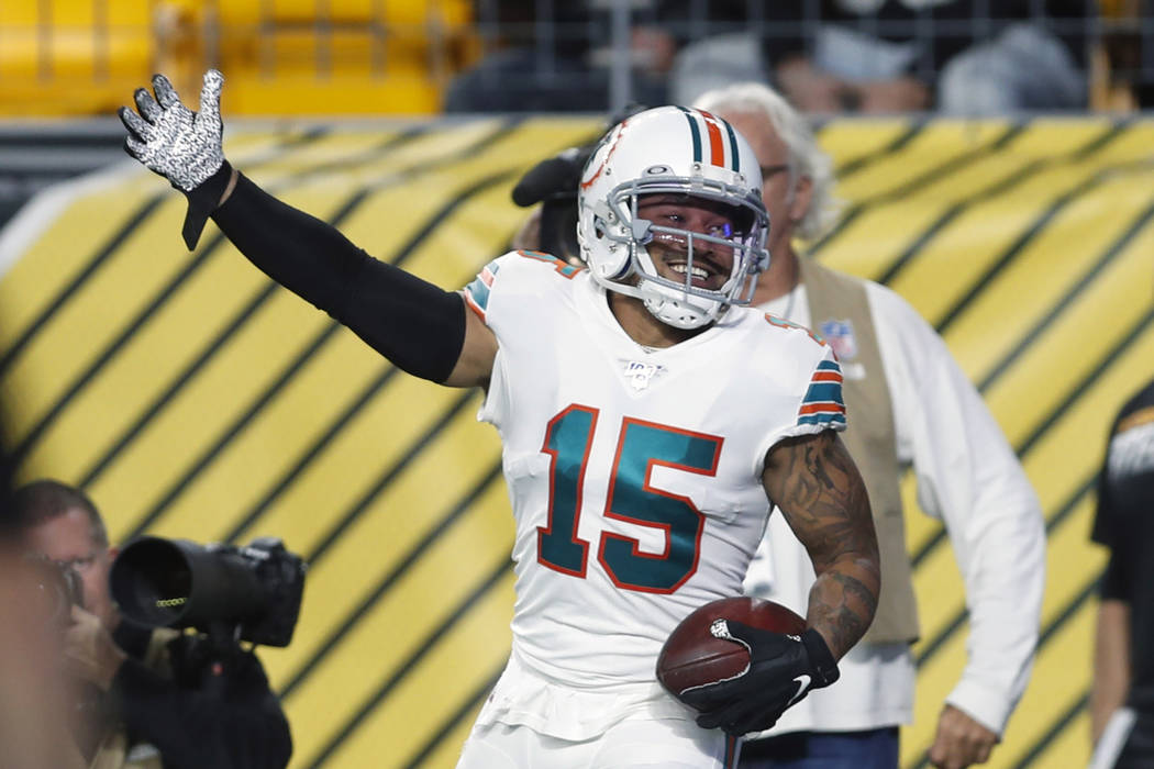 Miami Dolphins wide receiver Albert Wilson (15) celebrates his touchdown during the first half ...