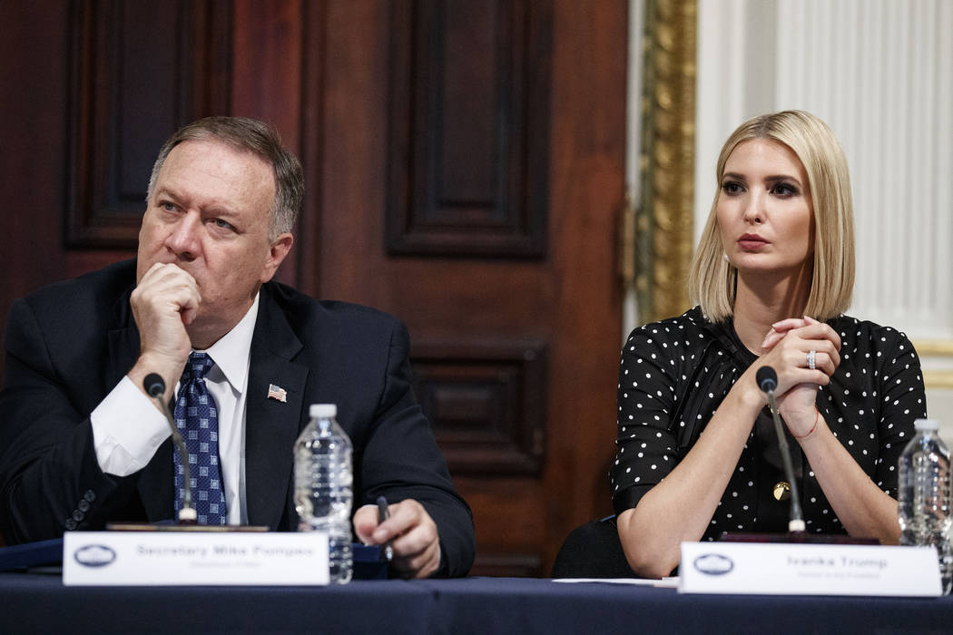Secretary of State Mike Pompeo, left, and Ivanka Trump, the daughter and assistant to President ...