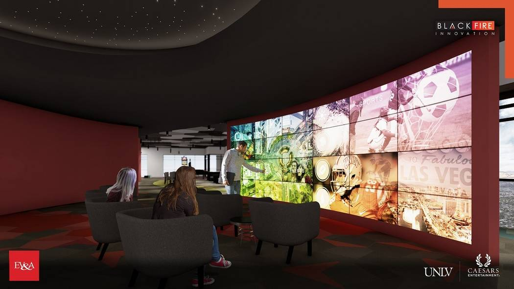 A rendering of the Black Fire Innovation hub. (Courtesy, Caesars Entertainment Corp.)