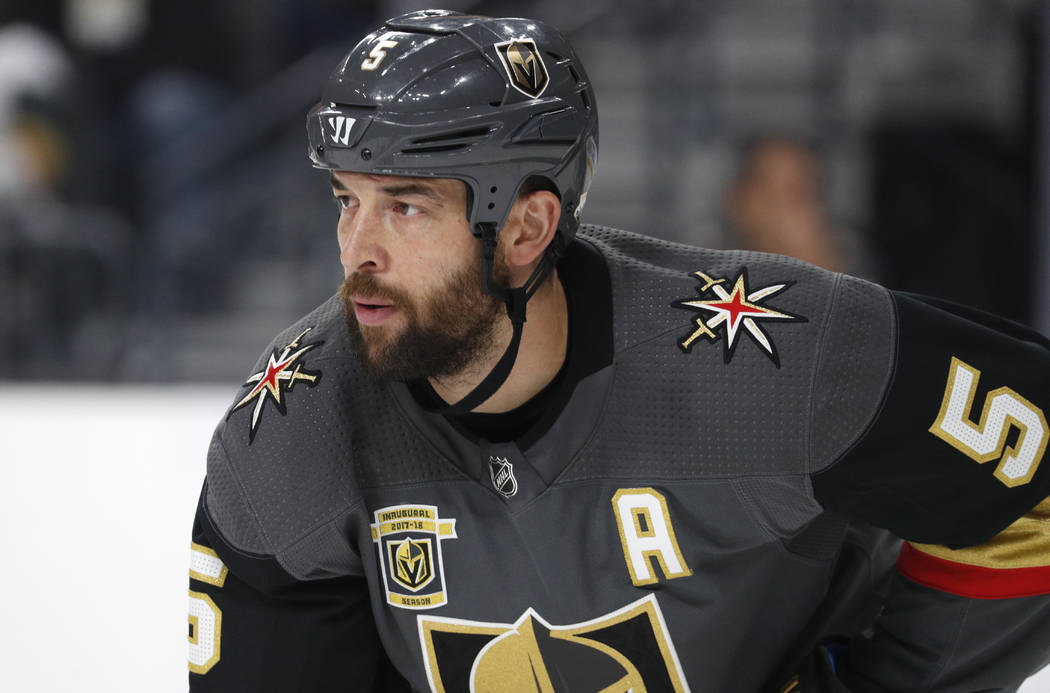 Vegas Golden Knights defenseman Deryk Engelland (5) plays against the New Jersey Devils during ...