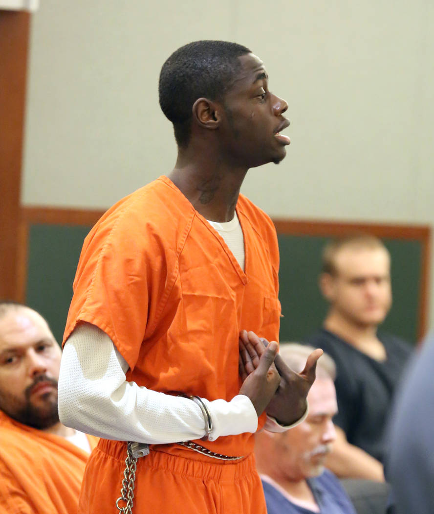 Weslie Martin, convicted of home invasion, appears in court during his sentencing at the Region ...