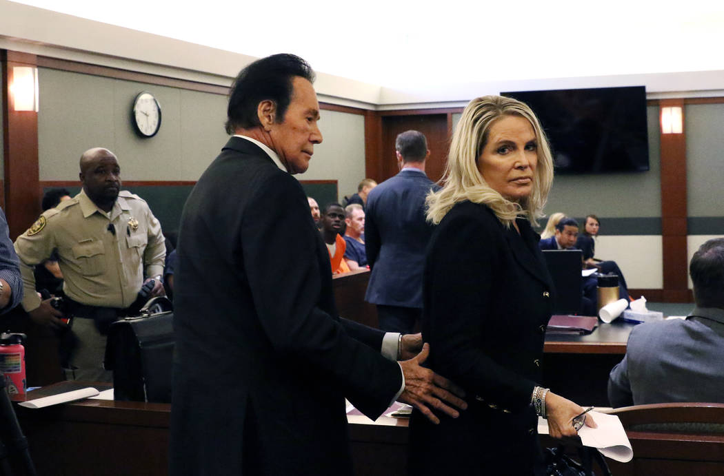 Wayne Newton and his wife, Kathleen, leave the courtroom after Weslie Martin's sentencing at th ...