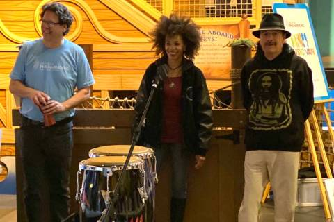 Las Vegas Philharmonic Music Director Donato Cabrera, Cindy Blackman Santana and Carlos Santana ...