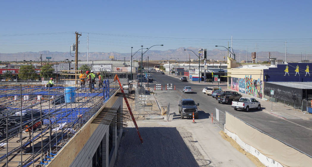Construction occurs on shareDOWNTOWN located in the Arts District at the corner of Casino Cente ...