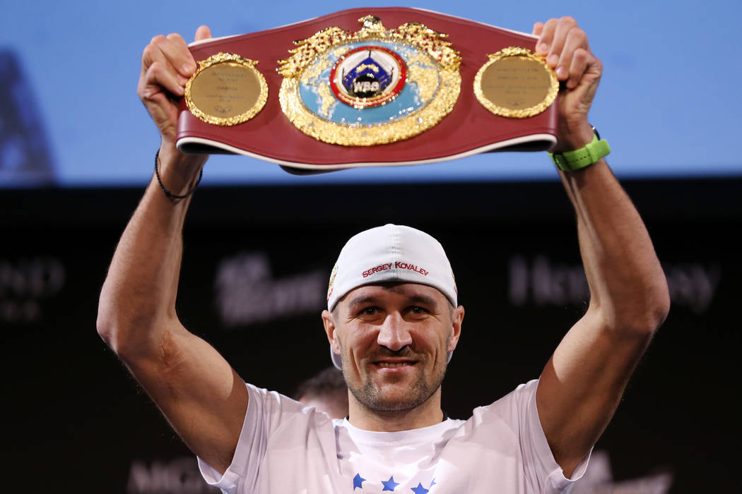 Sergey Kovalev poses during a press conference for his upcoming boxing bout at the MGM Grand ca ...