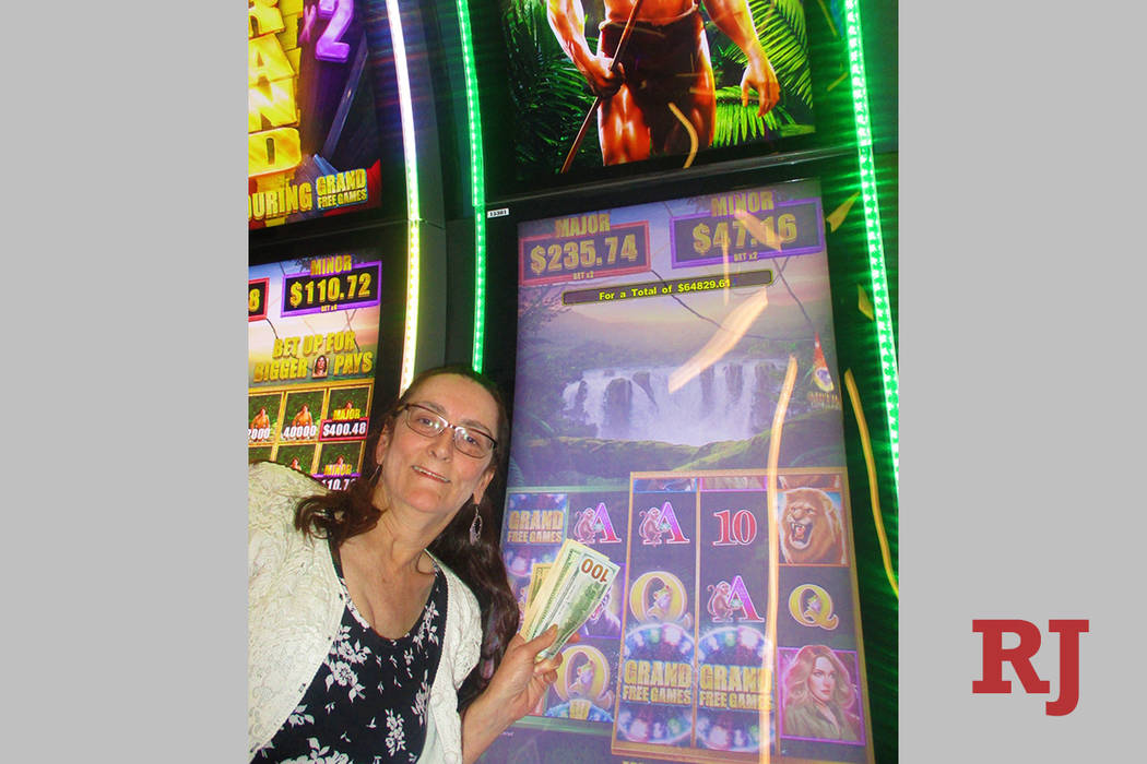 While playing on a Tarzan slot machine in The STRAT's Link Slot Lounge, Jacqueline Skibb ...