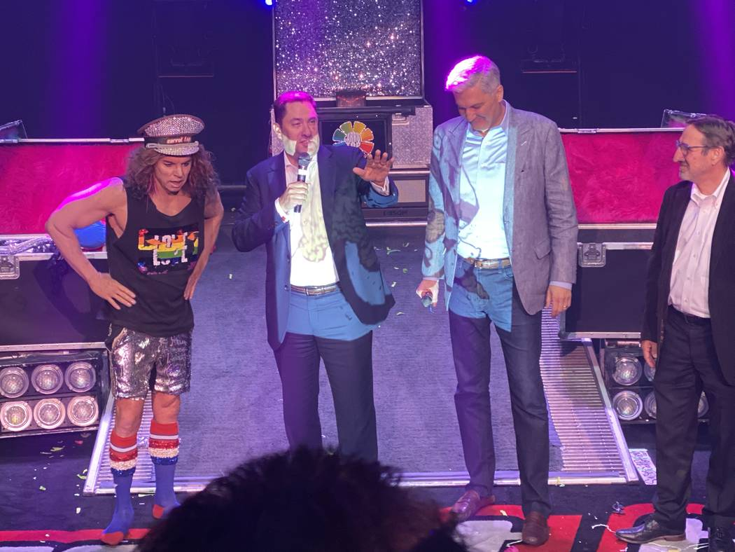 Carrot Top is shown with MGM Resorts International execs Cliff Atkinson, George Kliavkoff and J ...