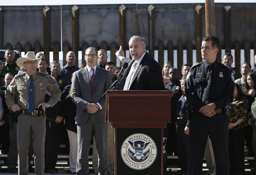 Customs and Border Protection Acting Commissioner Mark Morgan speaks during a press conference ...