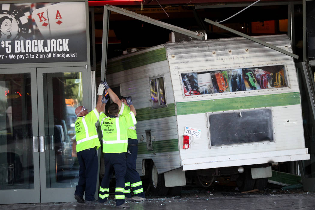Police said a woman who was kicked out of the Cannery crashed an RV into the entrance of the No ...