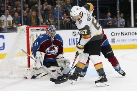 Vegas Golden Knights left wing Max Pacioretty (67) looks for an open play against Colorado Aval ...