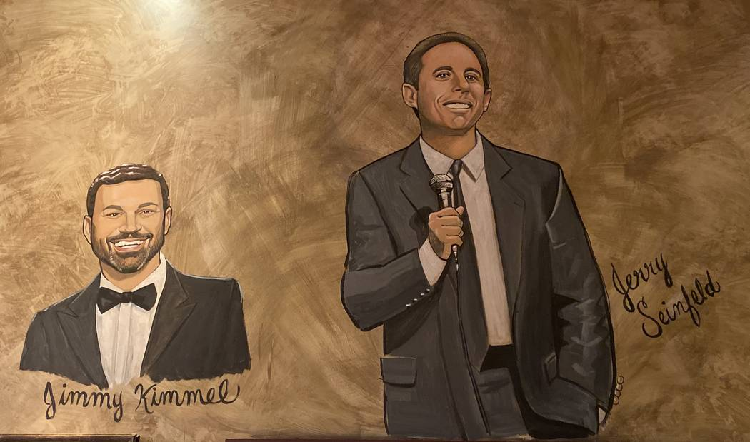 The caricatures of Jimmy Kimmel and Jerry Seinfeld are shown on the wall of Palm Restaurant at ...