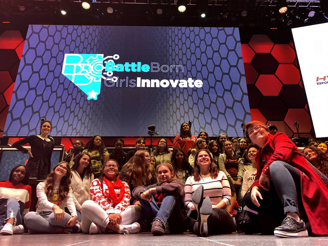 Eighth graders pose during Battle Born Girls Innovate educational program at HyperX Esports Are ...