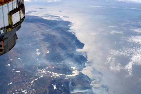 From the International Space Station on Wednesday, Oct. 30, 2019, astronaut Andrew Morgan was a ...