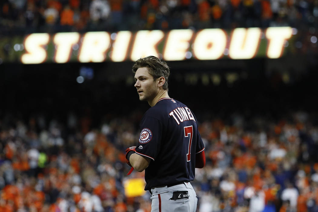 Washington Nationals' Trea Turner reacts after his strikeout during the sixth inning of Game 7 ...
