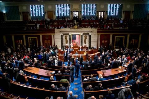 Vote Tallies are displayed as House members vote on a resolution on impeachment procedure to mo ...