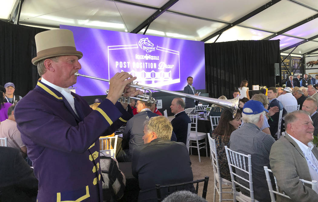 Santa Anita Park bugler Jay Cohen plays during the Breeders' Cup Draw for positions Monday, Oct ...