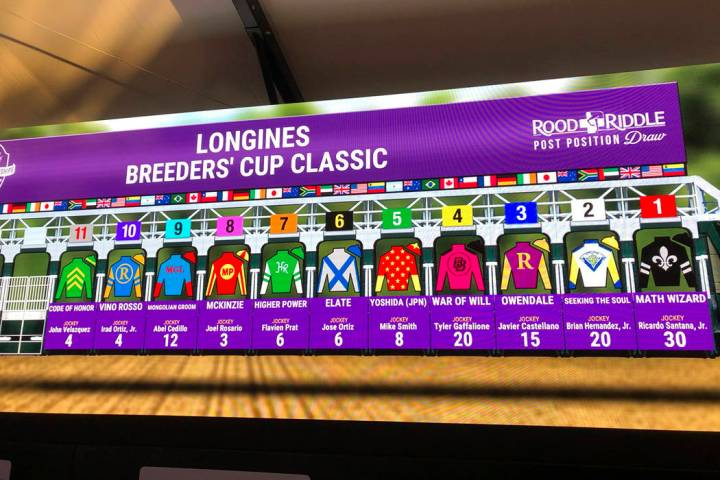 The field for the $6 million Breeders' Cup Classic at Santa Anita Park is displayed on a video ...