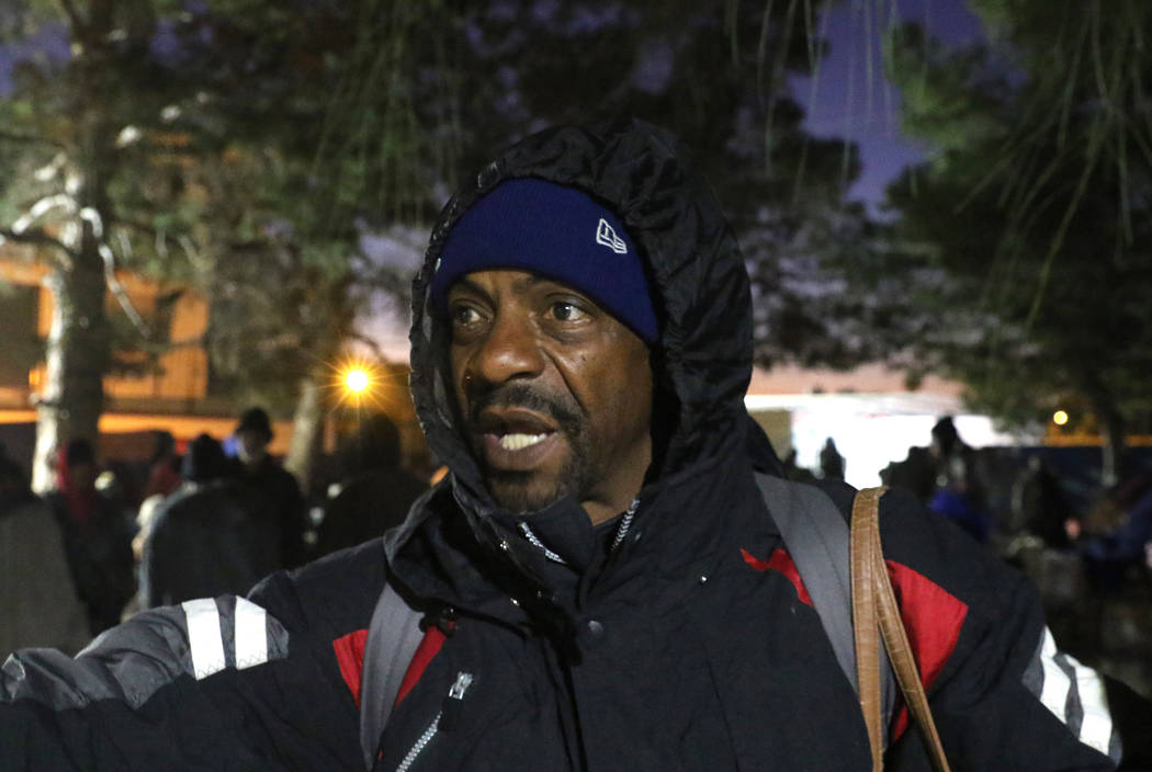 William Prince, 53, speaks during an interview with the Review-Journal at Courtyard Homeless Re ...
