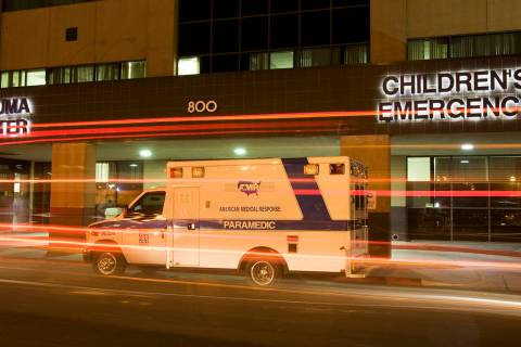 An American Medical Response ambulance is shown outside University Medical Center Trauma Center ...