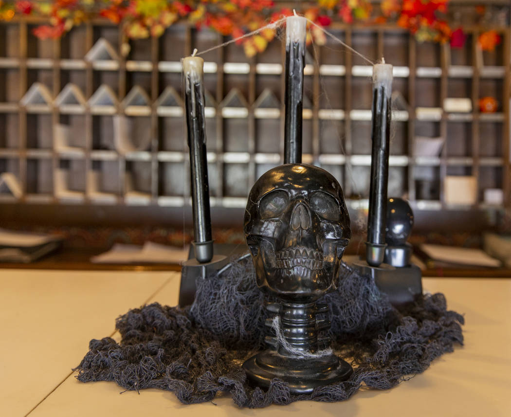 Halloween decorations on the front desk of the Mizpah Hotel in Tonopah, Nevada, on Wednesday, O ...