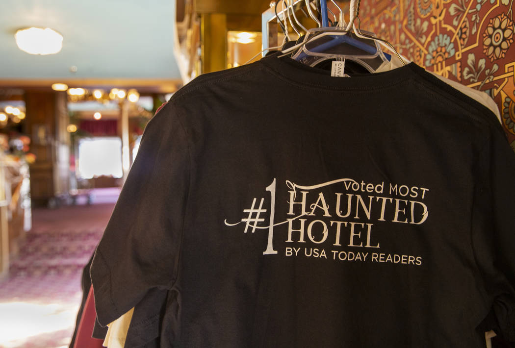 "T-shirts for sale in the lobby stating the Mizpah Hotel in Tonopah, Nevada, was voted as the ""# ..."