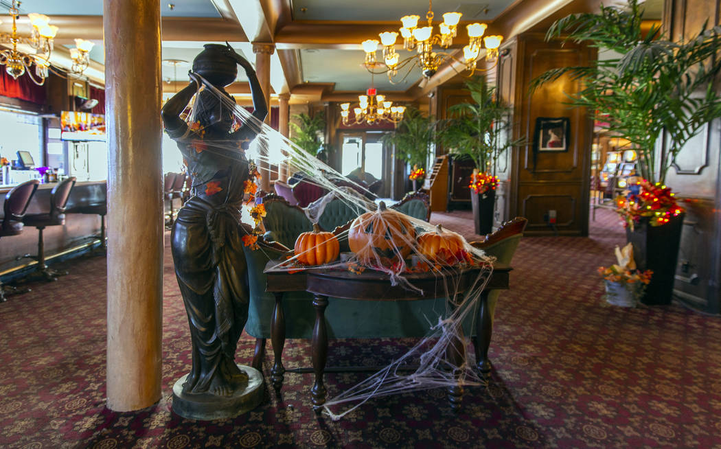 Halloween decorations abound in the sitting room at the Mizpah Hotel in Tonopah, Nevada, on Wed ...