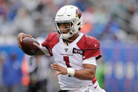 In this Oct. 20, 2019, file photo, Arizona Cardinals quarterback Kyler Murray is shown during t ...