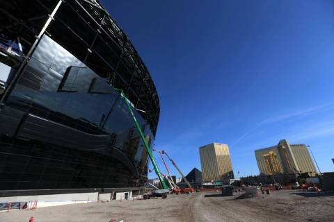 Installed glass on the east side of the Raiders Allegiant Stadium in Las Vegas, Thursday, Oct. ...