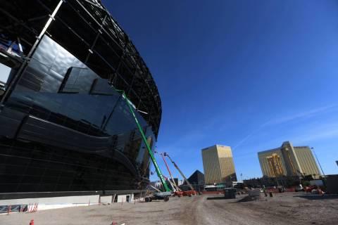 Installed glass on the east side of the Raiders Allegiant Stadium in Las Vegas, Thursday, Oct. ...
