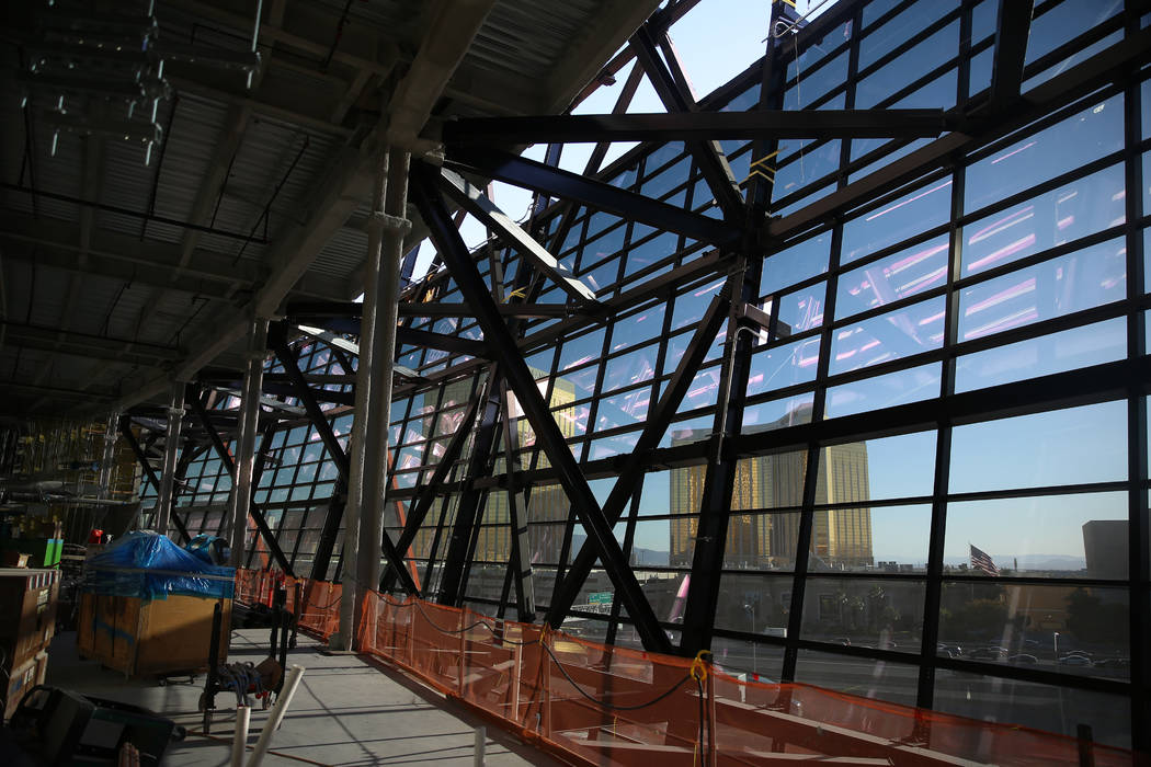 The view east from inside the Raiders Allegiant Stadium in Las Vegas, Thursday, Oct. 24, 2019. ...