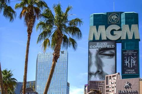 Signage for MGM Grand on Wednesday, June 12, 2019, in Las Vegas. (Benjamin Hager/Las Vegas Revi ...