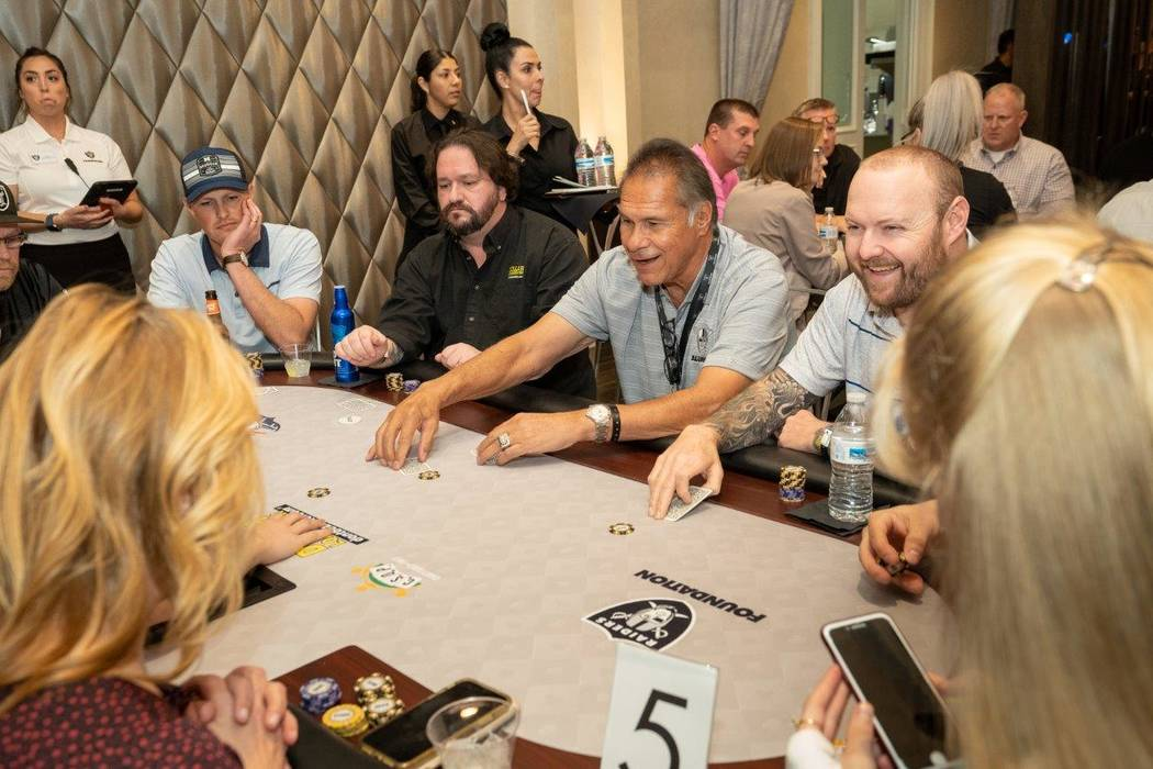 Ex-Raiders great Jim Plunkett is shown on the scene at the Raiders Foundation poker tournament ...