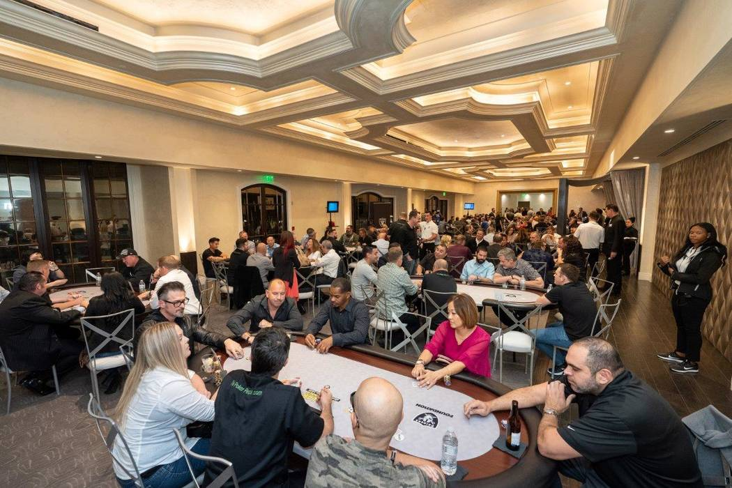 The scene at the Raiders Foundation poker tournament benefitting Nevada Youth Football League a ...