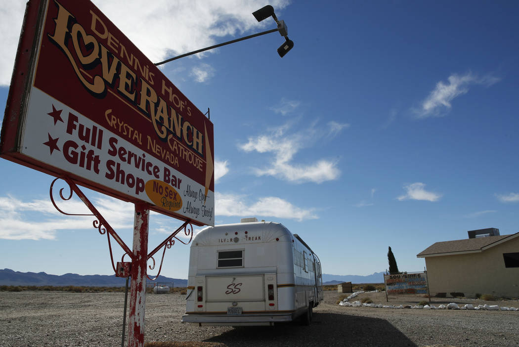 File - In this Oct. 16, 2018, file photo, a sign advertises the Love Ranch brothel in Pahrump, ...