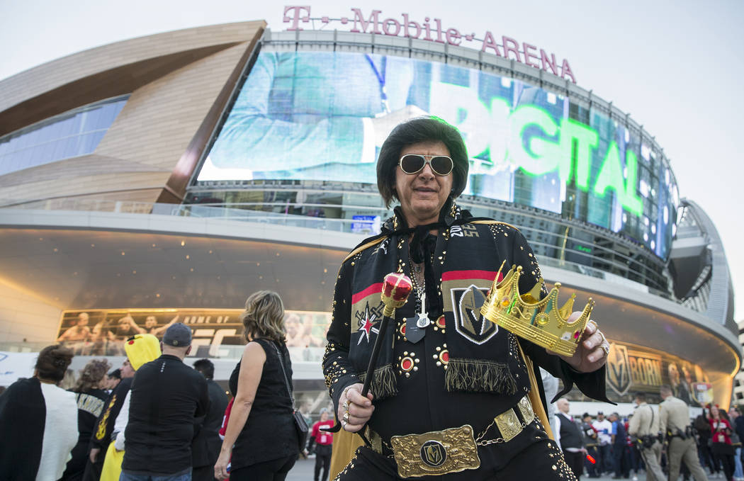 Jeff Stanulis in his Halloween outfit outside T-Mobile Arena before the start of the Golden Kni ...