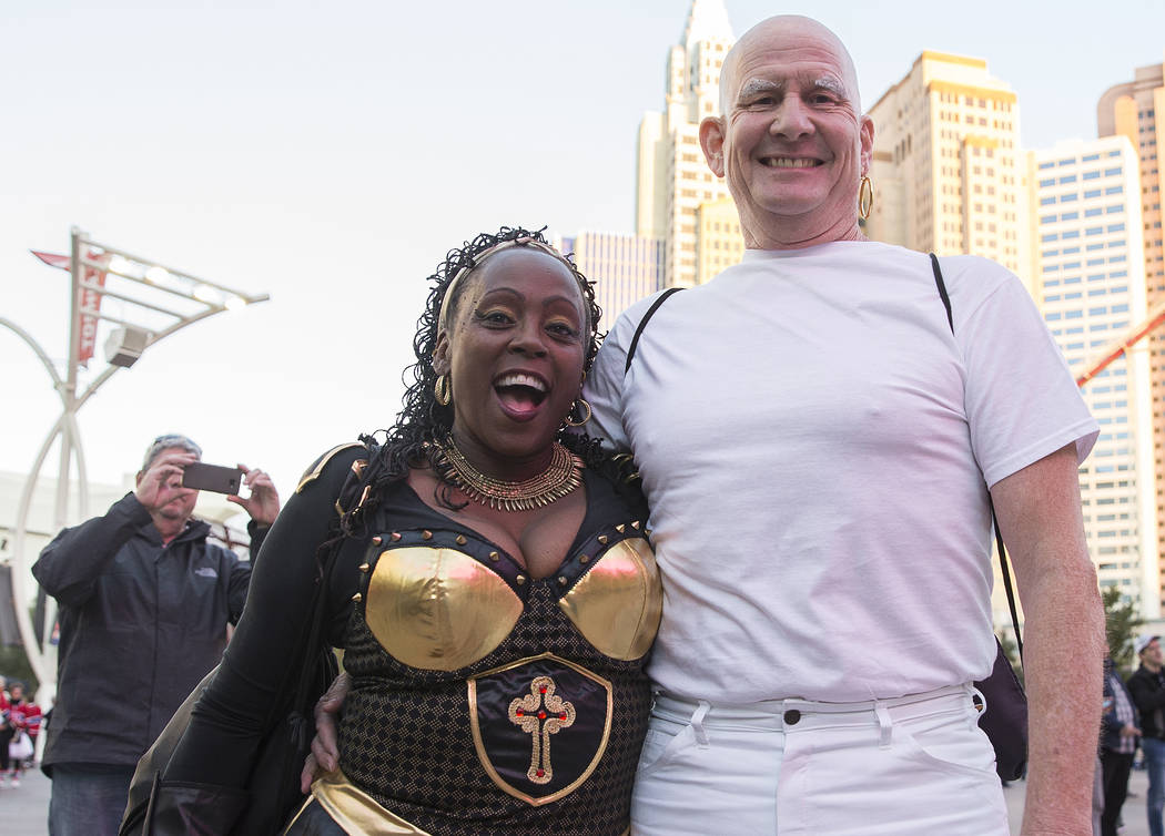 Jeff and Gail Larson in their Halloween outfits outside T-Mobile Arena before the start of the ...