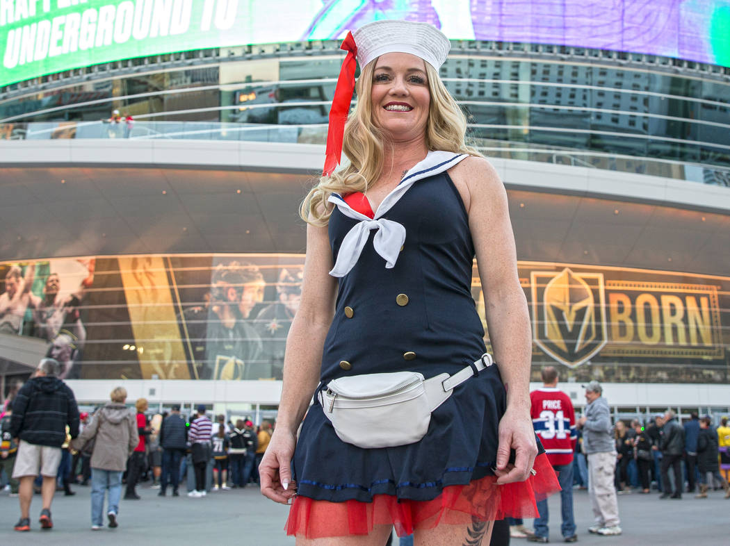 Kaeti Bahm in her Halloween outfit outside T-Mobile Arena before the start of the Golden Knight ...